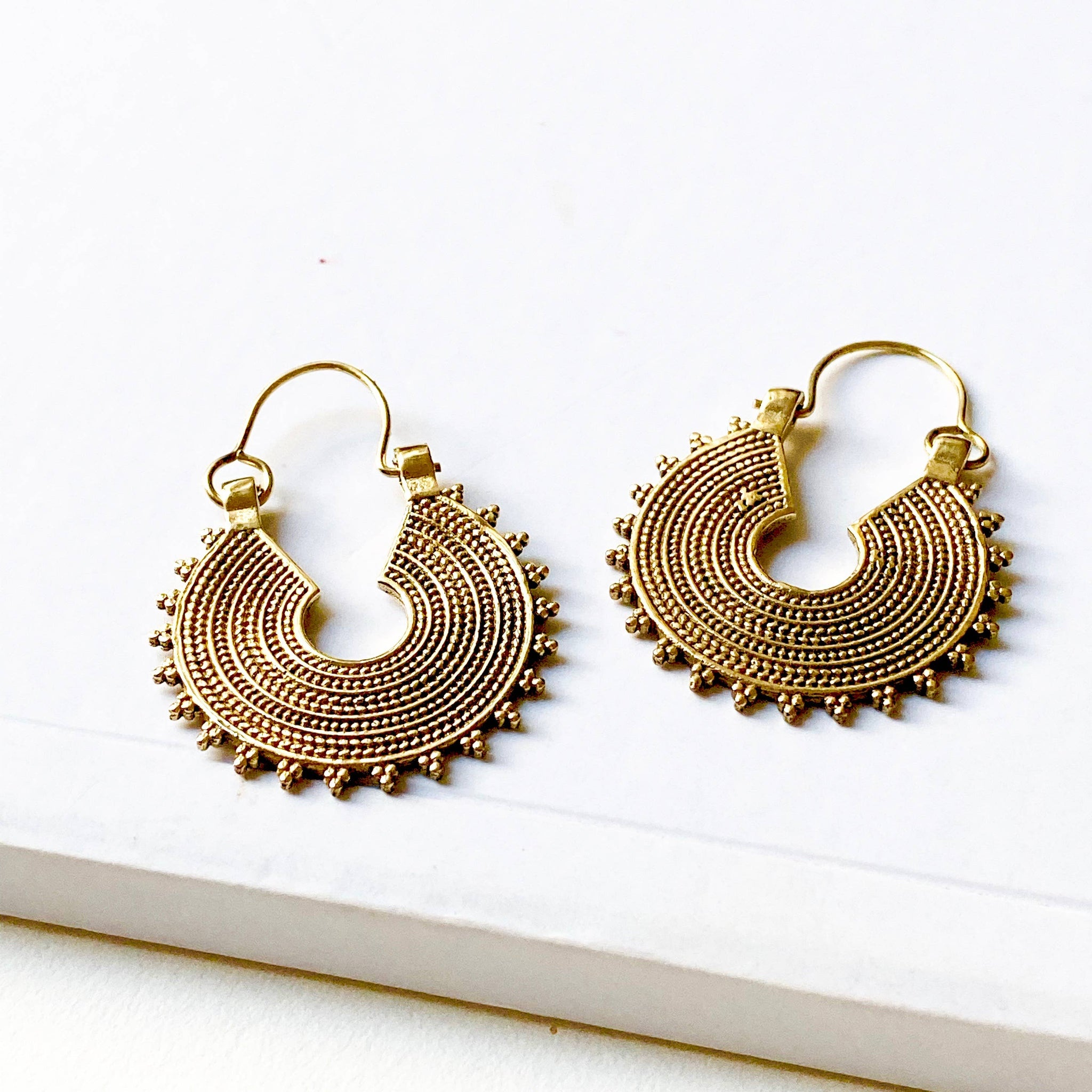 Vina Brass Earrings by Boho Gal Jewelry