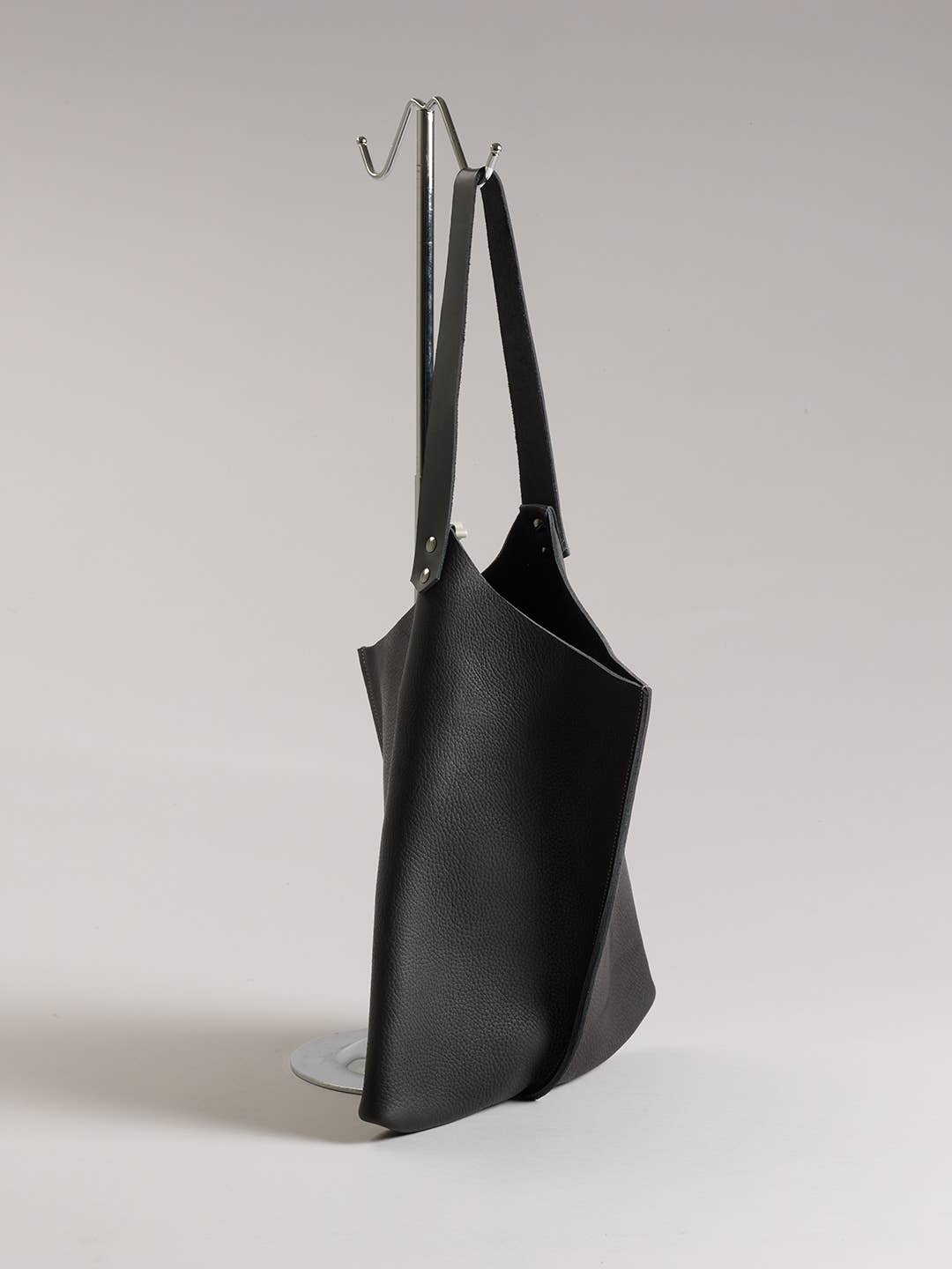 True Black  Leather Wedge Tote 16inch by Scabby Robot