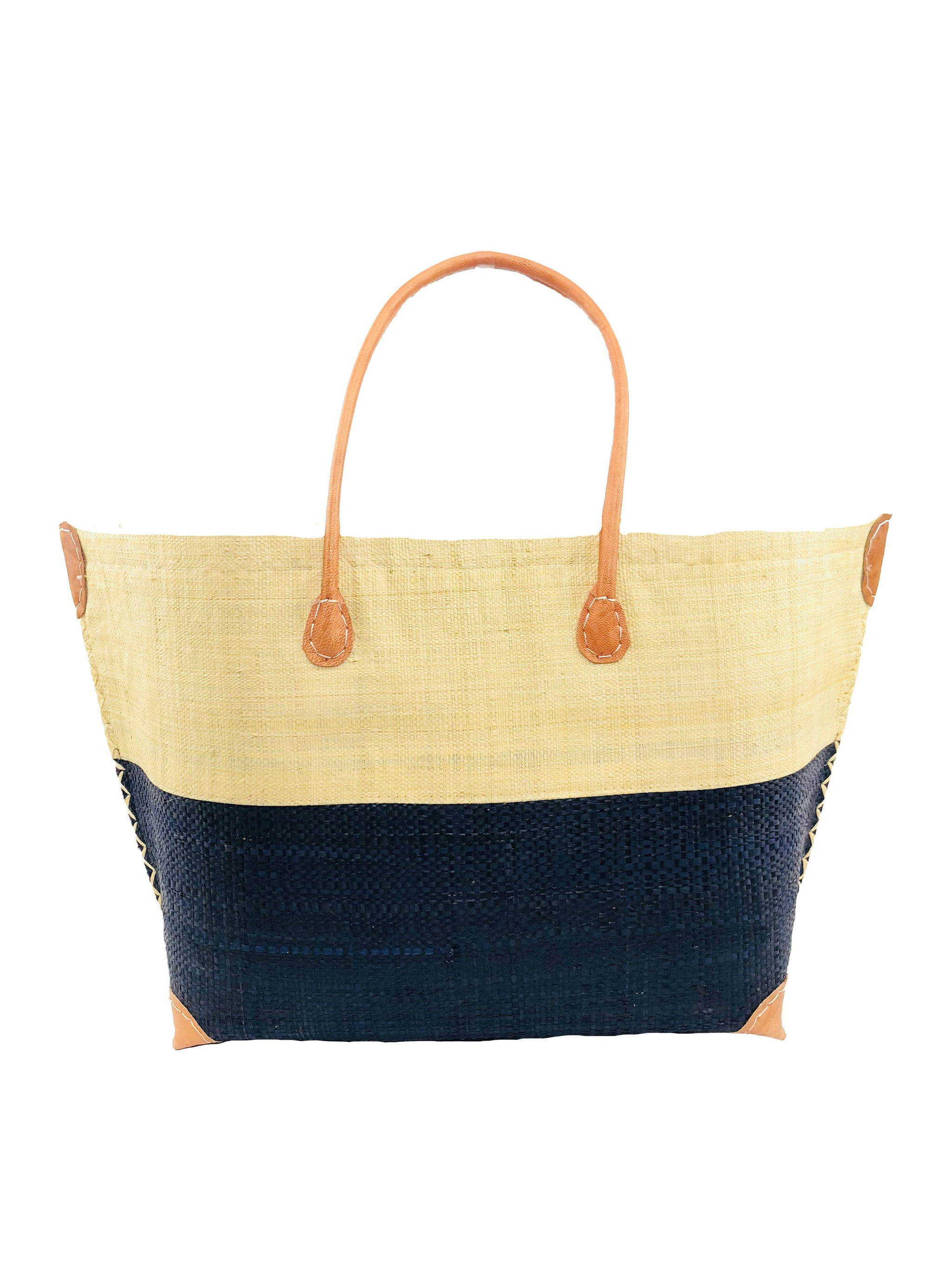 Monterey Straw Bag-Black and Natural