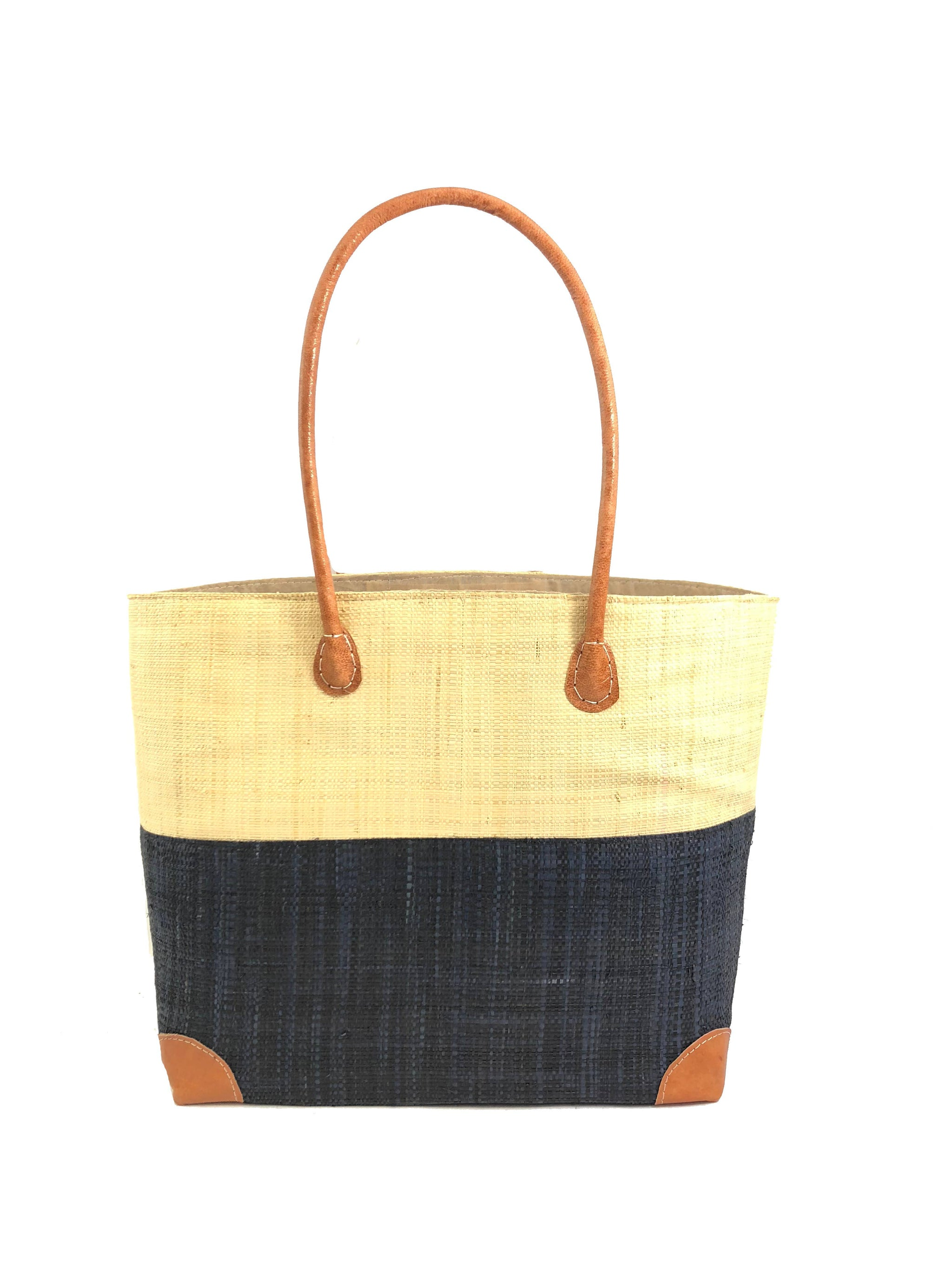 Trinidad Two-Tone Straw Handbag