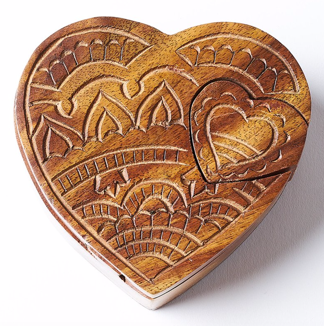 Heart Shaped Carved Puzzle Storage