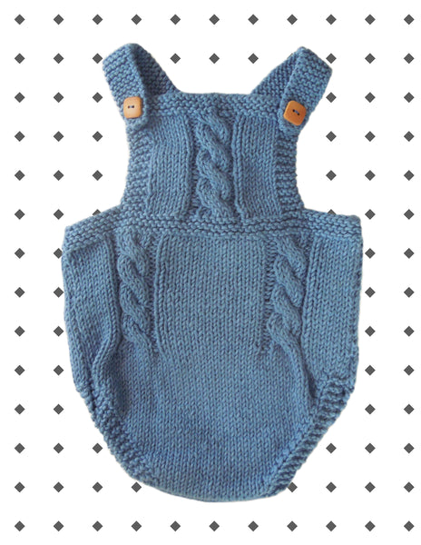 2702fc8b8 HAND KNITTED BABY ROMPER- OCEAN BLUE WOOL COTTON – Zobow