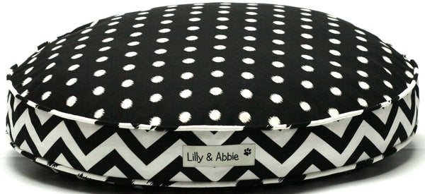 Ultra-soft, Luxury Handcrafted Dog Bed - Black Ikat Dots