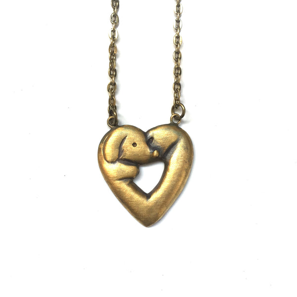 Daschund Pendant -  Heart Shaped (hand made)