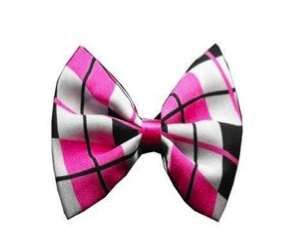 Funky Pink Plaid Bow Tie