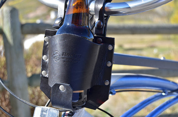 Handmade Leather Bicycle Cup Holder, Bike Accessories, Handlebar Cup Holder