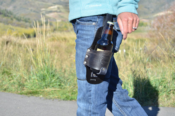 Handmade Leather Beer Holster Accessory, Beer Belt, Beverage Holster