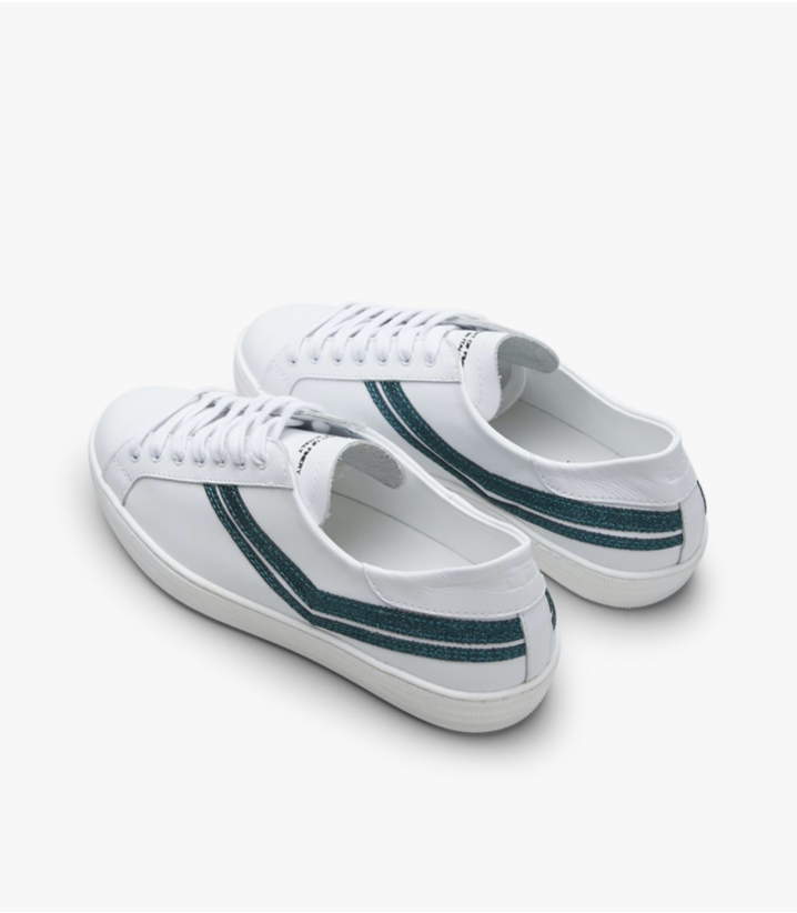 SKINNEY - White / Metallic Teal
