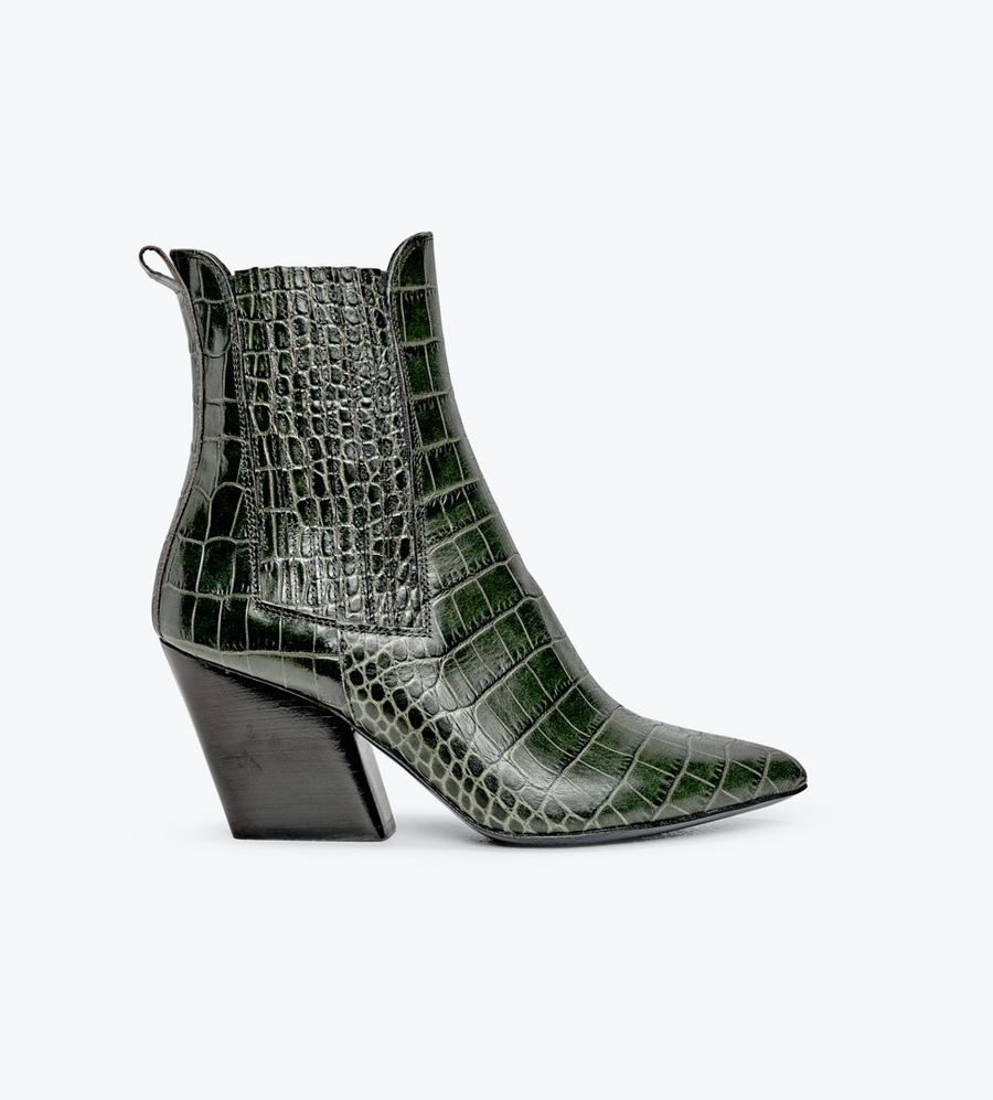 ASTRID - Olive Croc Leather