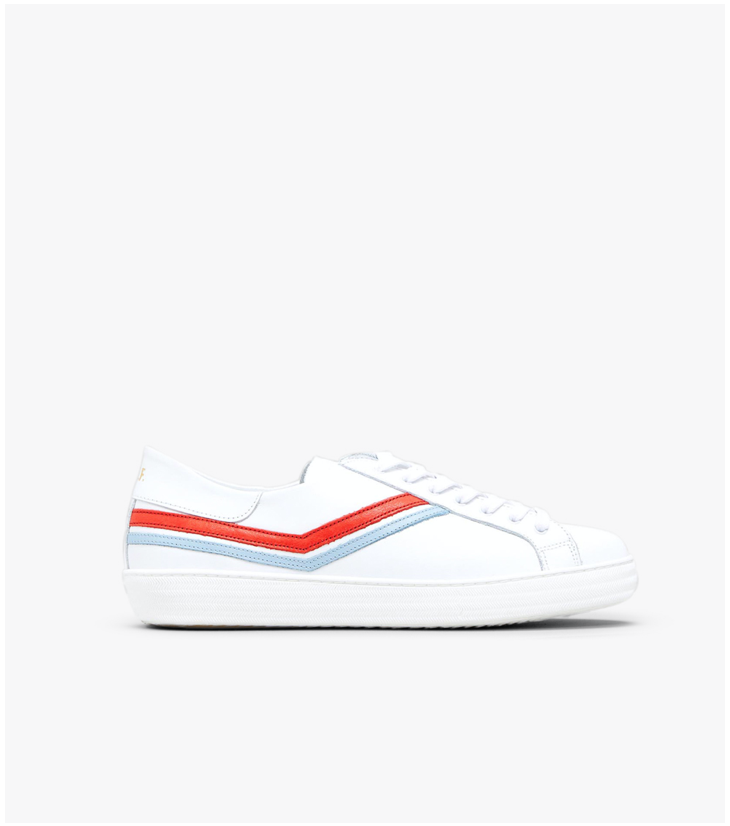 Skinney - White/Red/Blue Leather