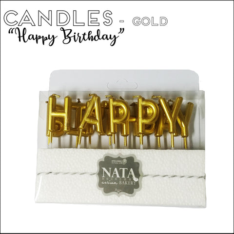 "Candles - ""Happy Birthday"" - Gold"