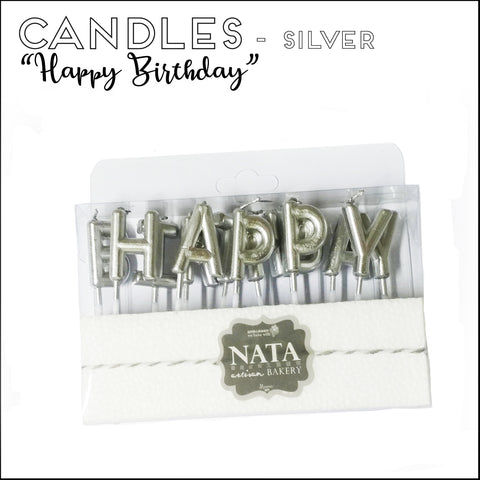 "Candles - ""Happy Birthday"" - Silver"