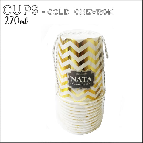 Cups - Gold Chevron (12pcs)
