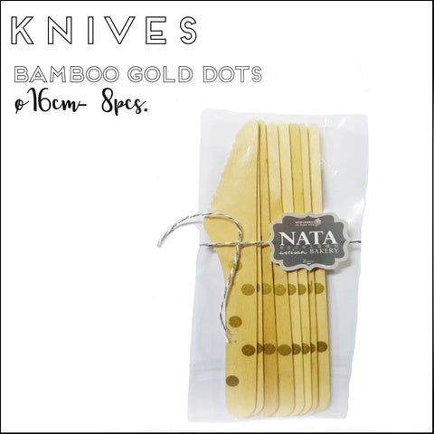 Cutlery - Knives - Bamboo Gold Dots (8pcs)