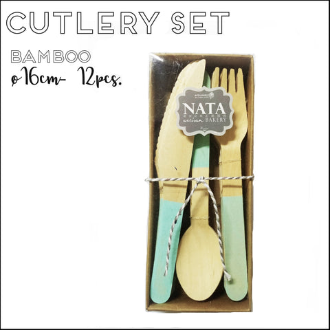 Cutlery - Fork, Knife & Spoon Set - Mint Green Accent (12pcs)