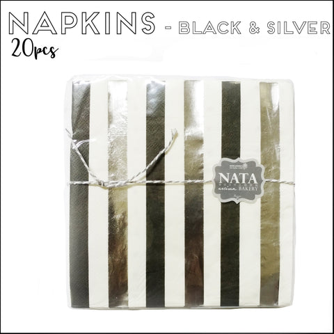 Napkins - Black & Silver Stripes