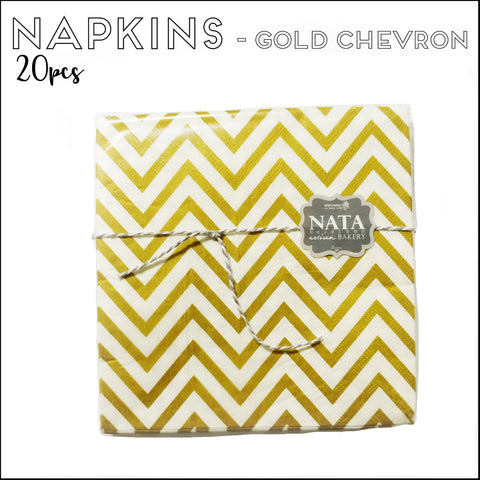 Napkins - Gold Chevron