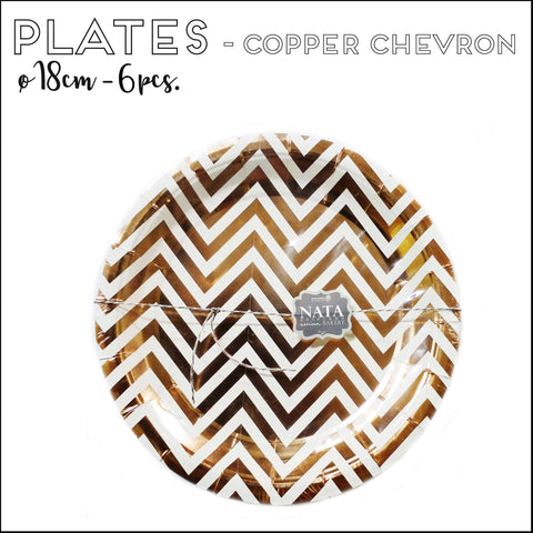 Paper Plates - Copper Chevron (18cm - 6pcs)
