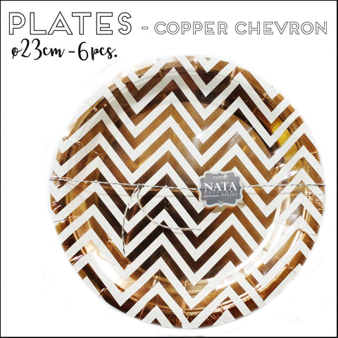 Paper Plates - Copper Chevron (23cm - 6pcs)
