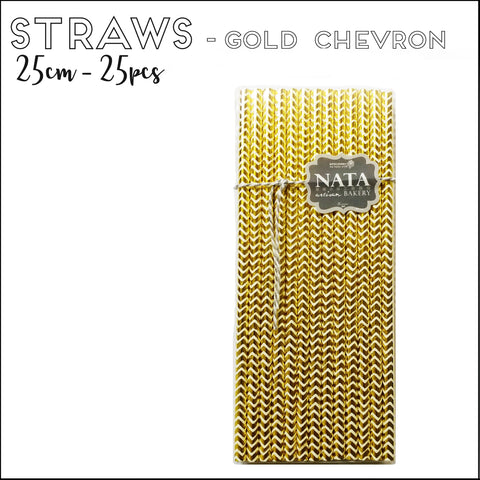 Paper Straws - Gold Chevron (25pcs)