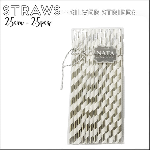Paper Straws - Silver Stripes (25pcs)