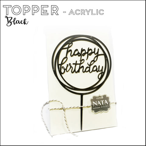 "Topper ""Happy Birthday"" - Black - Acrylic (reusable)"