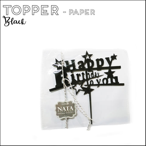 "Topper ""Happy Birthday"" - Black - Paper"