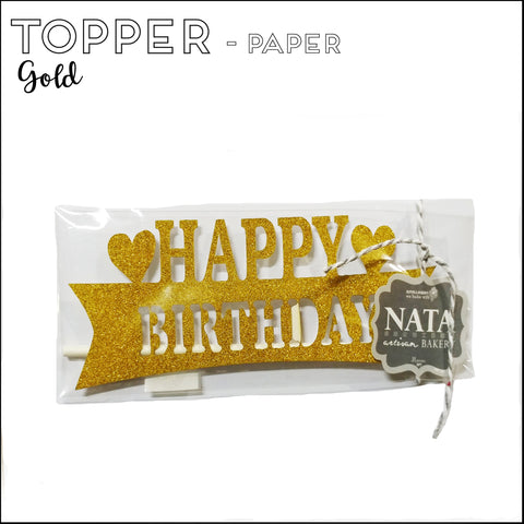 "Topper ""Happy Birthday"" - Gold Banner - Paper"