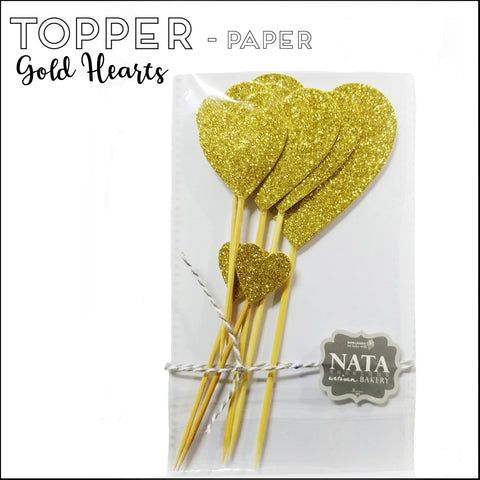 Topper - Gold Hearts - Paper
