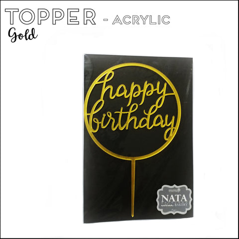 "Topper ""Happy Birthday"" - Round Gold - Acrylic (reusable)"
