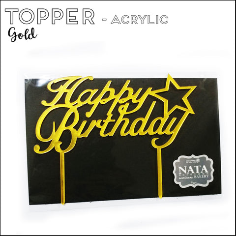 "Topper ""Happy Birthday"" - Gold - Acrylic (reusable)"