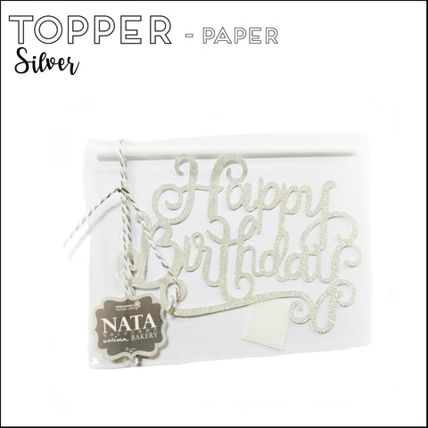 "Topper ""Happy Birthday"" - Silver - Paper"