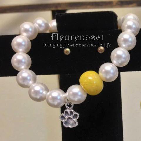 26BR Swarovski Pearl Stretch Bracelet with Dog Paw ~ Custom Order ~ Order Form Required