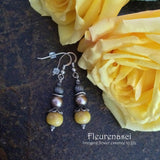 10ERS-IS-YR Flower Petal Earrings with Swarovski Pearls ~ In Stock Item
