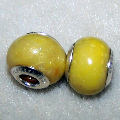 1FBG-IS-YD Flower Petal Bead 11mm with Sterling Silver Grommets - In Stock Item