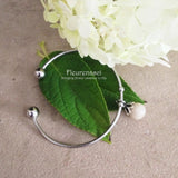 40BR Silver Stainless Steel Cuff Bangle Bracelet w/Flower Bead ~ Custom Order Item ~ Order Form Required