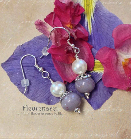 11ER-IS-ISDG Flower Petal Bead Sterling Silver Earrings with Swarovski Pearl