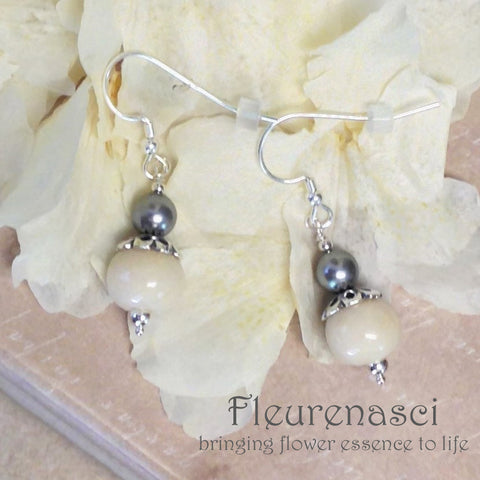 11ER-IS-WA Flower Petal Bead Sterling Silver Earrings with Swarovski Pearl