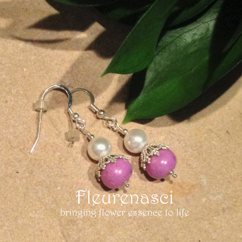 11ER-IS-PR Sterling Silver Earrings One Flower Bead with One Cap ~ In Stock Item