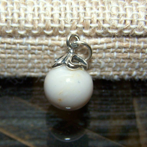 1DC Sterling Silver Cap Dangle Charm with One Flower Petal Bead ~ Custom Order ~ Order Form Required