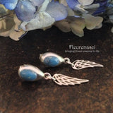 13ER-W Sterling Silver Bezel Post Earrings with Angel Wing Charms ~ Custom Order ~ Order Form Required