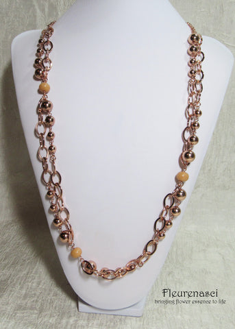 41N-IS-OR Inspirational Flower Petal Bead Rose Gold Plated Mixed Chain Necklace
