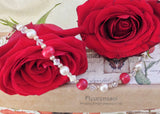 14IS-BR Flower Petal Sterling Silver Bracelet w/Crystals & Pearls ~ In Stock Item