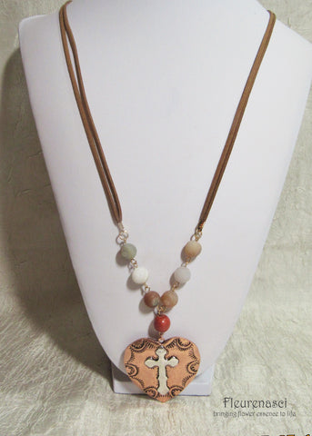 42N-IS-AR Inspirational Flower Petal Bead Leather Natural Stone Necklace w/Heart Cross Pendant