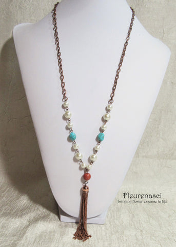 43N Inspirational Flower Petal Bead Pearl and Turquoise Necklace with Metal Tassel ~ Custom Order ~ Order Form Required