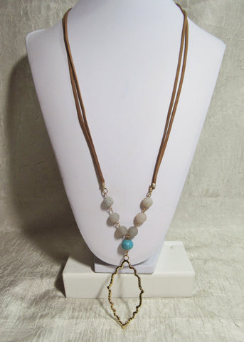 44N Inspirational Flower Petal Bead Leather Natural Stone Necklace w/Pendant ~ Custom Order ~ Order Form Required