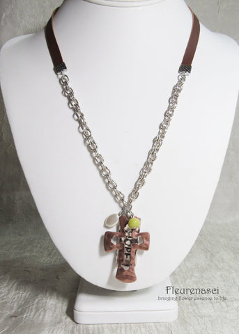 45N-IS-GH Inspirational Flower Petal Bead Hope Hammered Necklace w/Leather Cord and Cross Pendant