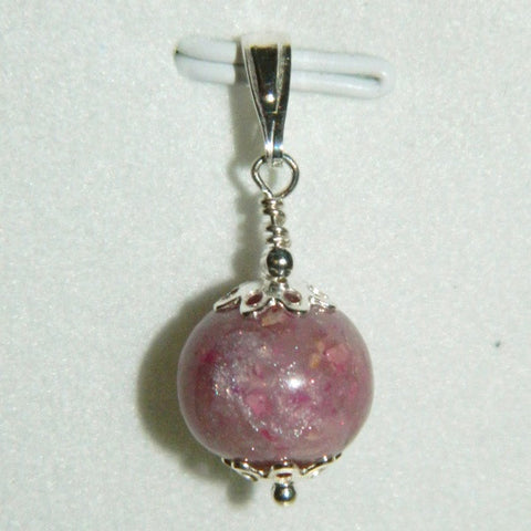 1BC Sterling Silver Bail Charm with One Flower Petal Bead ~ Custom Order ~ Order Form Required