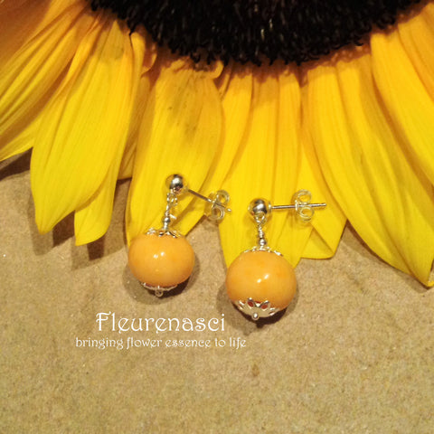 1ER-IS-SF Sterling Silver Earrings with One Flower Petal Bead