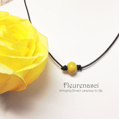 1N-IS-L3 Flower Bead Leather Necklace ~ In Stock Item